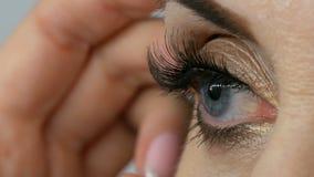 O maquilhador profissional cola as pestanas falsas nos olhos azuis de um fim de meia idade adulto da mulher acima da vista filme