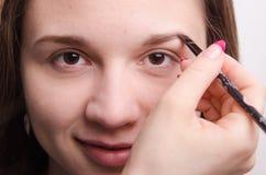 O maquilhador traz o modelo da escova da sobrancelha com composição Fotografia de Stock Royalty Free