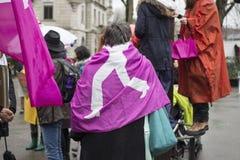 O março das mulheres no dia das mulheres internacionais em Zurique Imagem de Stock Royalty Free