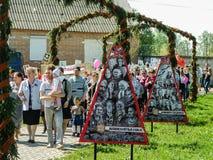 O março do regimento imortal na região Rússia de Kaluga em 9 pode 2016 Foto de Stock Royalty Free