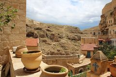 O março Saba Monastery, Laura de nosso pai santamente Sabbas foto de stock