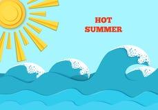 O mar acena e brilho do sol no estilo de papel da arte ilustração do vetor do conceito do curso Cartaz das férias de verão no cor Imagem de Stock