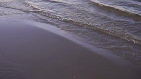 O mar acena na praia na noite video estoque