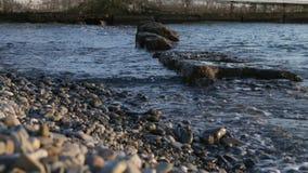 O mar acena o dobramento no Pebble Beach video estoque