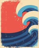 O mar acena o poster. Grunge ilustração royalty free