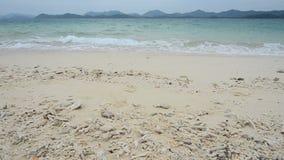 O mar acena sobre a praia da areia video estoque