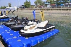 o mar adiciona o barco a motor Foto de Stock Royalty Free
