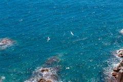O mar azul do verão com a rocha Foto de Stock