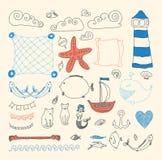 O mar bonito ajustado objeta a coleção Imagens de Stock Royalty Free