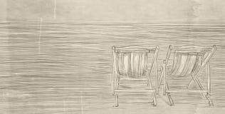 O mar calmo com os dois moradores vazios Imagem de Stock