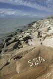 O mar da palavra, composto das conchas do mar Imagens de Stock Royalty Free
