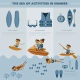 O mar das atividades no grupo do verão ilustração stock