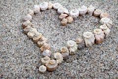 O mar descasca o coração Fotografia de Stock Royalty Free