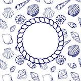 O mar descasca o vetor do fundo da textura do quadro da corda do círculo dos azuis marinhos Fotografia de Stock Royalty Free