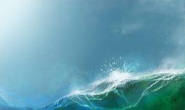 O mar do verão acena a ilustração realística do fundo ilustração stock