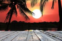 O mar e o sol bonitos da silhueta das paisagens Imagem de Stock