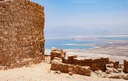 O Mar Morto do parque da fortaleza de Masada fotografia de stock
