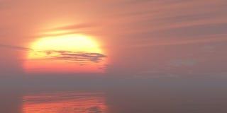 O mar vermelho do por do sol ou do nascer do sol acena o fundo colorido brilhante Fotografia de Stock