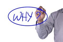 O marcador da escrita da imagem do conceito e escreve porque pergunta Foto de Stock Royalty Free