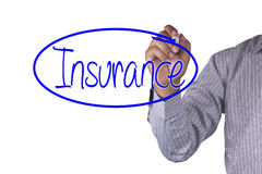 O marcador da escrita do conceito do negócio e escreve o seguro isolado no fundo branco Foto de Stock Royalty Free