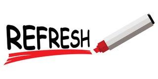 O marcador vermelho que sublinha a palavra refresca Ilustração Stock