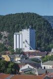 O marco, halden o silo de grão Fotografia de Stock Royalty Free