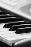 O marfim branco e as chaves pretas de um piano Fotos de Stock