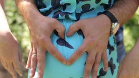O marido abraça sua esposa grávida no parque, close-up video estoque