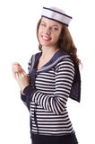 O marinheiro da jovem mulher no branco Imagens de Stock Royalty Free