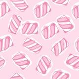 O marshmallow da tração da mão torce a ilustração sem emenda do vetor do teste padrão Fundo em borracha doce colorido cor pastel  ilustração stock