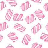 O marshmallow torce a ilustração sem emenda do vetor do teste padrão Fundo em borracha doce colorido cor pastel dos doces Imagens de Stock Royalty Free