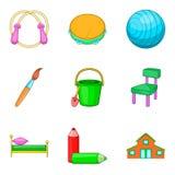 O material aos ícones da educação ajustou-se, estilo dos desenhos animados Imagens de Stock