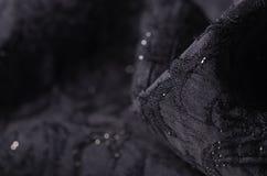 O material preto da textura da tela sparkles lantejoulas para brilhar imagem de stock
