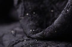 O material preto da textura da tela sparkles lantejoulas para brilhar fotografia de stock royalty free