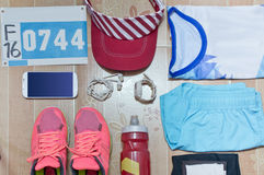 O material running apresentou pronto por um dia da raça Imagens de Stock Royalty Free