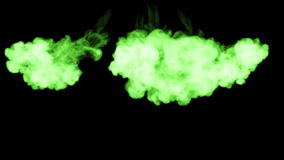 O matiz verde-claro fluorescente roda na água, tinta de muitas gotas Este é 3d rende o tiro no movimento lento para a tinta ilustração royalty free
