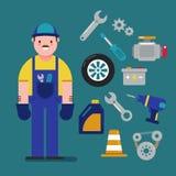 O mecânico e o carro prestam serviços de manutenção ao conceito com os ícones lisos Ilustração do vetor Fotos de Stock