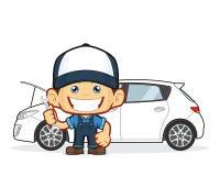 O mecânico repara o carro ilustração royalty free