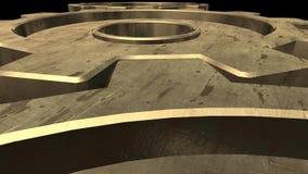 O mecanismo com engrenagens do ouro gerencie Fundo preto Fim acima Alpha Channel video estoque