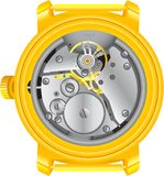 O mecanismo de horas do ouro ilustração stock