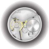 O mecanismo de um relógio Imagens de Stock
