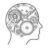 O mecanismo do pensamento humano É descrito sob a forma de um mecanismo do pulso de disparo com as engrenagens e os parafusos enc Fotos de Stock Royalty Free