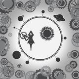 O mecanismo está girando o universo com os planetas em torno do foguete Imagem do vetor ilustração royalty free