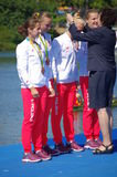 O medalheiro de bronze de Irena Szewinska e do Polônia nas mulheres quadruplica os sculls Rio2016 imagem de stock royalty free