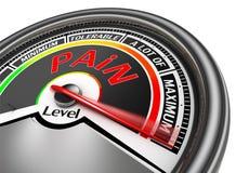 O medidor conceptual nivelado da dor indica o máximo Fotografia de Stock Royalty Free