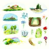 O meio-dia italiano das paisagens simples das miniaturas floresce a aquarela do céu da costa de mar do prado da floresta das plan ilustração royalty free