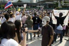 O meio japonês entrevista o líder do protesto Fotografia de Stock