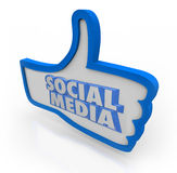 O meio social exprime os polegares azuis acima da rede da comunidade Fotos de Stock Royalty Free