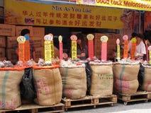 O melão semeia o vendedor em Chinatown imagem de stock royalty free