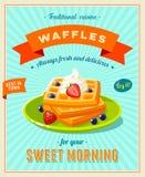 O melhor café da manhã - sinal do restaurante do vintage Cartaz denominado retro com a pilha dos waffles Imagens de Stock